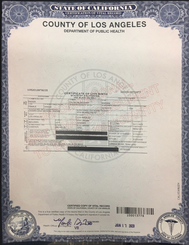 birth certificate madden benji cameron diaz middle daughter raddix revealed chloe wildflower hollywoodlife particular