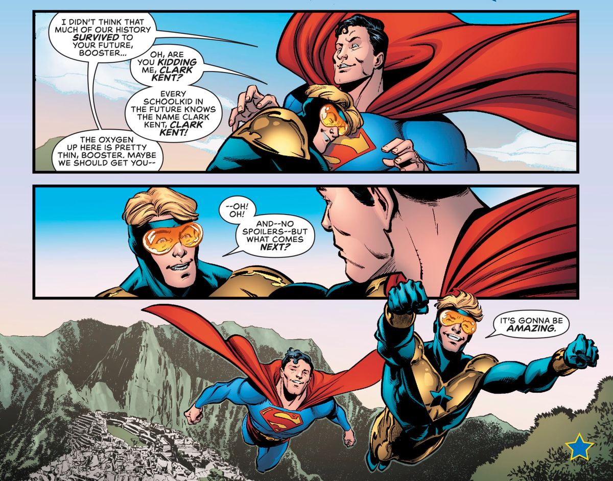 Booster Gold excitedly tells Superman that every school kid from his future knows the name of Clark Kent, in Superman: Heroes, DC Comics (2020).