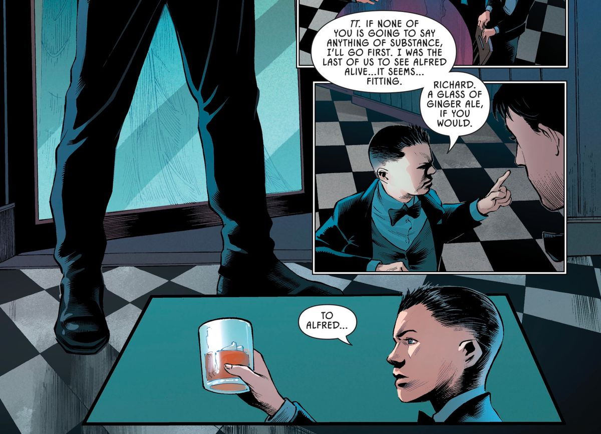Damian Wayne orders a ginger ale and lifts it in toast to Alfred Pennyworth in Batman: Pennyworth R.I.P., DC Comics (2020).