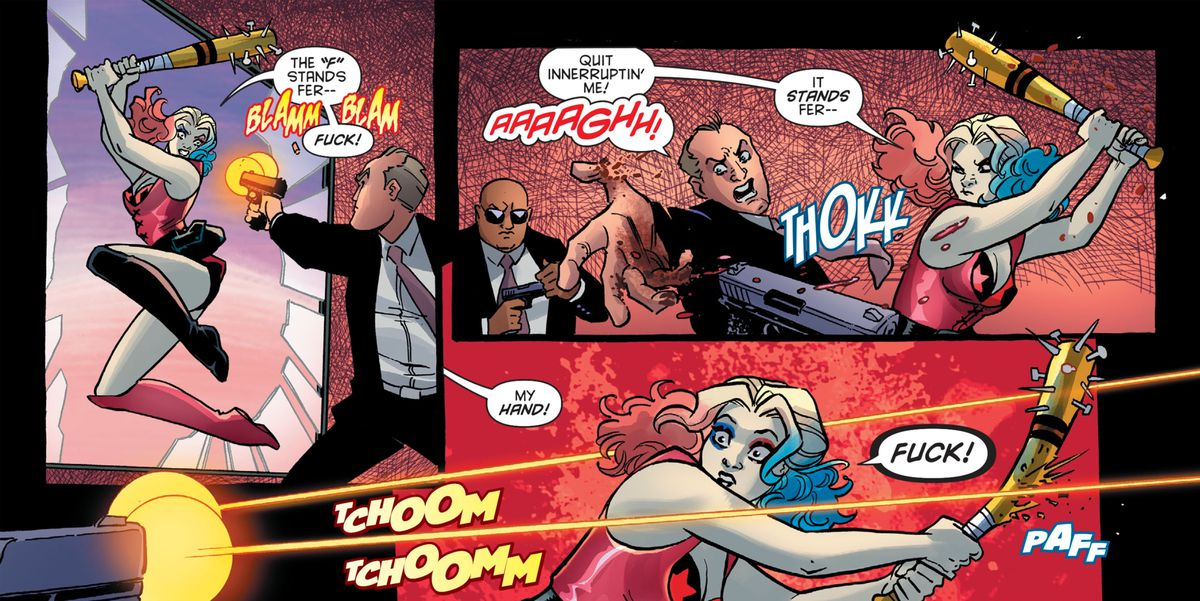 """As Harley Quinn beats up some gun-wielding toughs with a baseball bat with nails in, she shouts """"The 'F' stands fer"""" but is interrupted, """"Fuck!"""" in Harley Quinn and the Birds of Prey #1, DC Comics (2020)."""