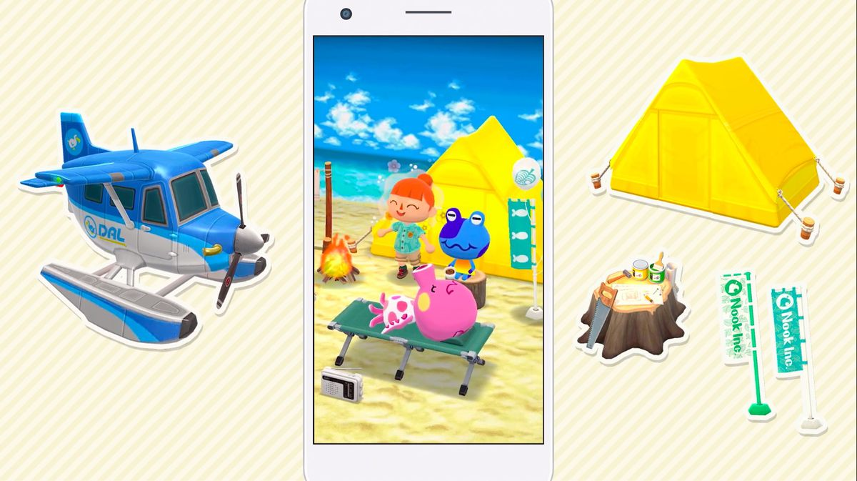 A graphic showing Animal Crossing: New Horizons items, including a plane, tent, and flags, for Pocket Camp.
