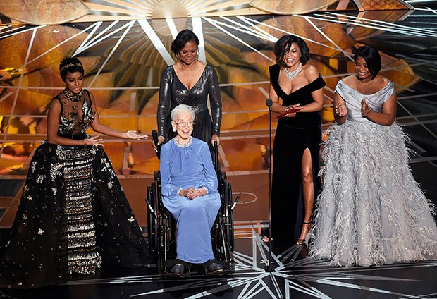 Katherine Johnson on the 2017 Academy Awards with Janelle Monae Taraji P. Henson and Octavia Spencer