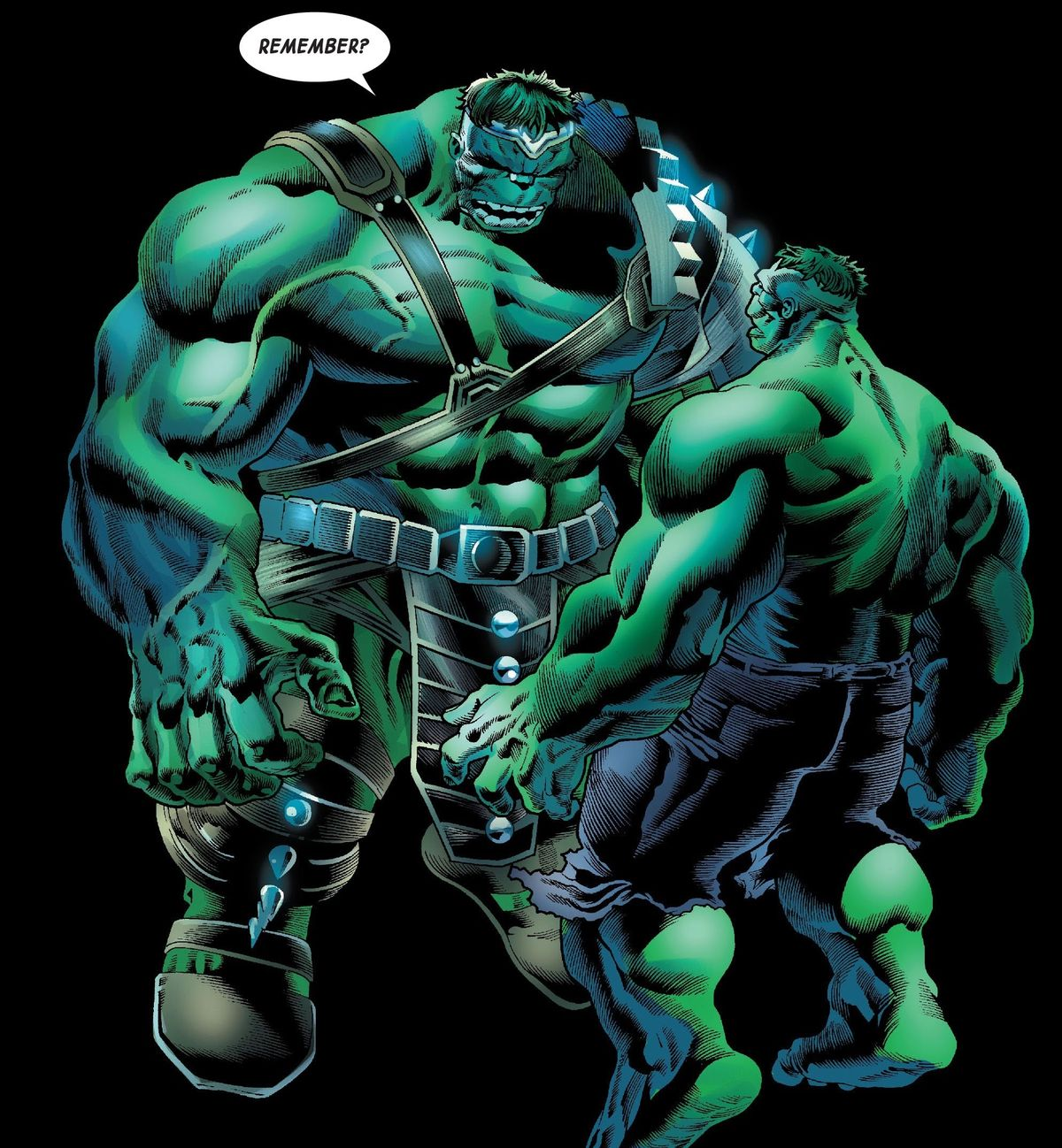 The Green Scar Hulk personality appears before the Savage Hulk in Bruce Banner's mindscape, in Immortal Hulk #32, Marvel Comics (2020).