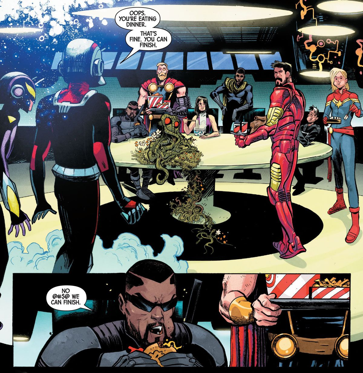 """Ant-Man appears before the Avengers, who are gathered around a table eating fast food. """"Oops,"""" he says, """"you're eating dinner. That's fine. You can finish."""" """"No @#$@ we can finish,"""" Blade snaps through a mouthful of hamburger, in Ant-Man #3, Marvel Comics (2020)."""
