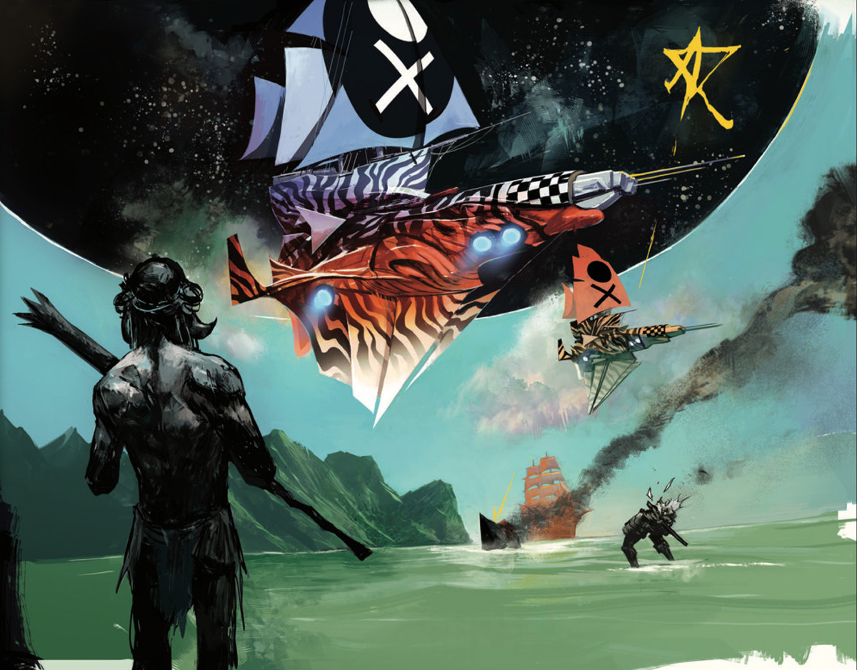 Alien natives and robot colonizers stand on the shore of a strange planet, as the sky opens to black void and zebra/checkerboard spaceships drop out of the hole, in Decorum #1, Image Comics (2020).