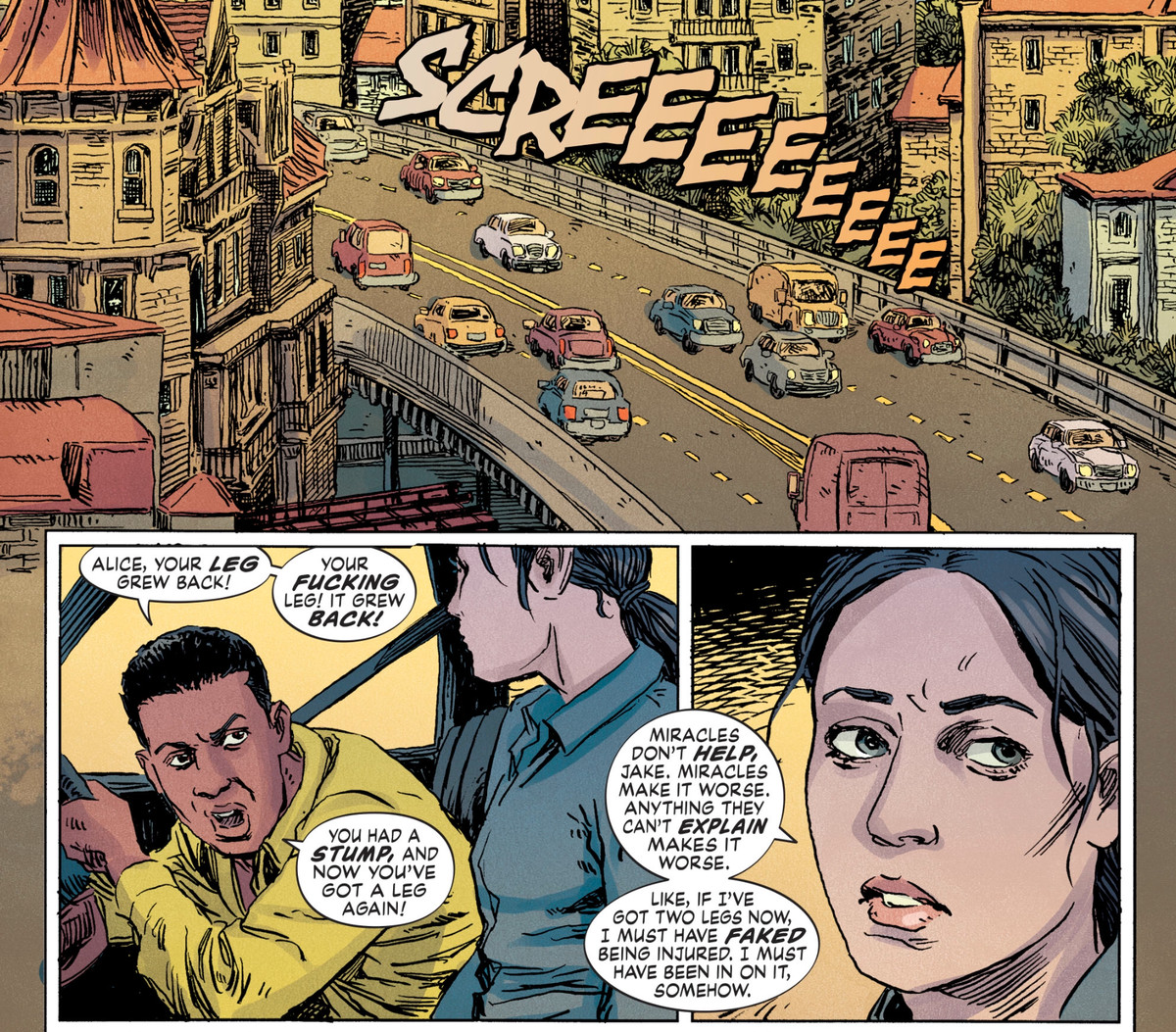 """Jake brings the car to a screeching halt as he yells, """"Alice, your leg grew back! [...] You had a stump, and now you've got a leg again!"""" Alice wearily tells him that that evidence is too unbelievable to make people trust her version of events, in The Dollhouse Family #5, DC Comics (2020)."""