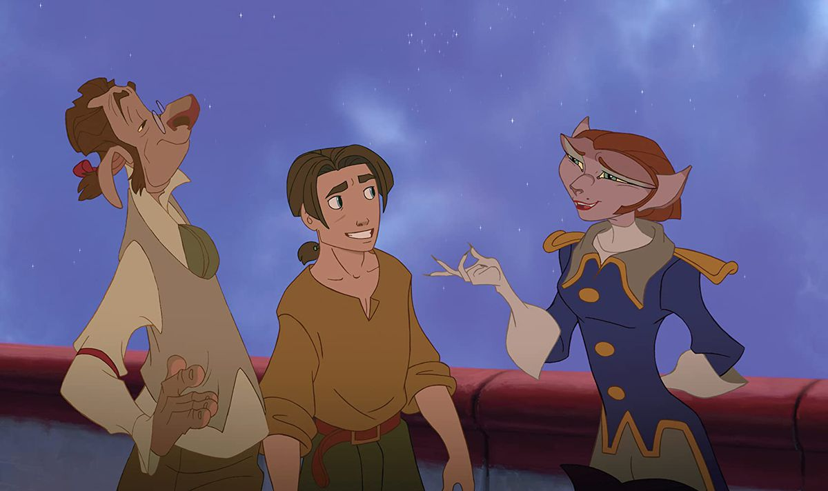 Jim Hawkins chats with Dr. Doppler and Captain Amelia in a screenshot from Treasure Planet