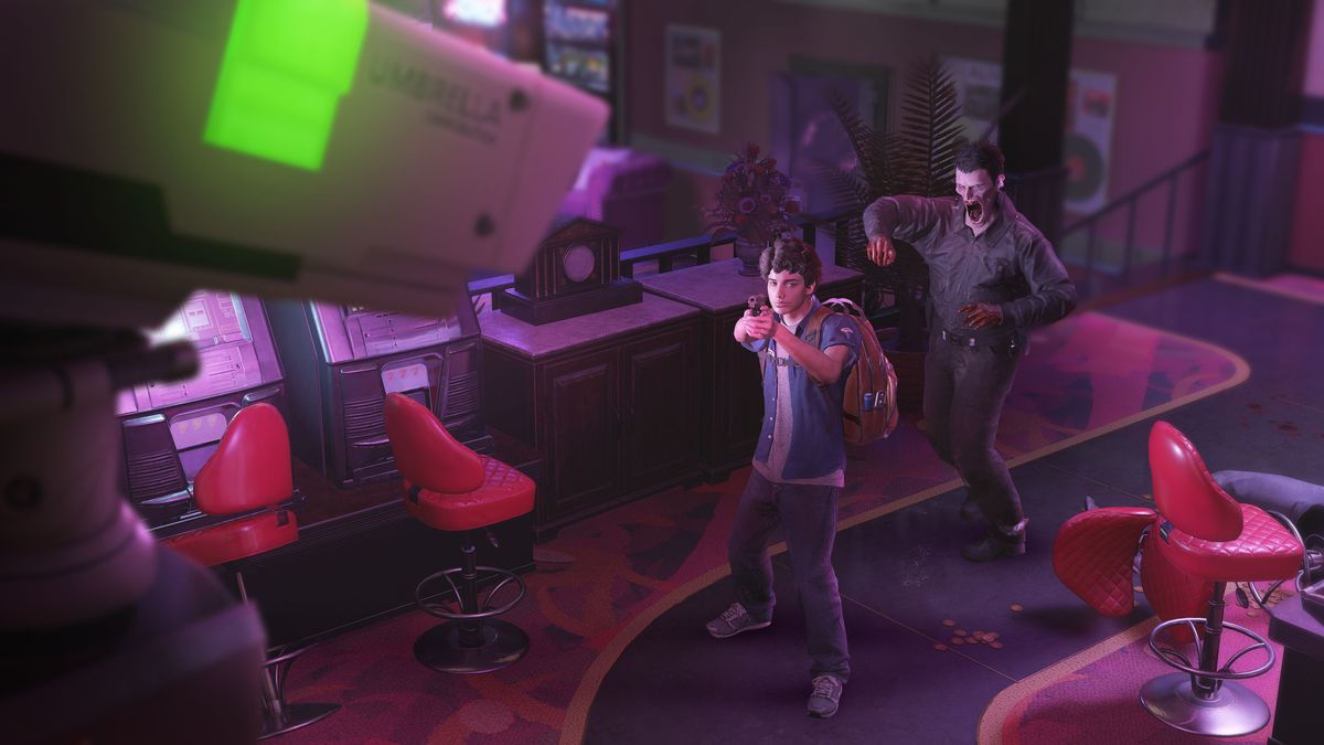 A survivor, Martin, aims his pistol at a security camera while a zombie approaches in a screenshot from Resident Evil Resistance