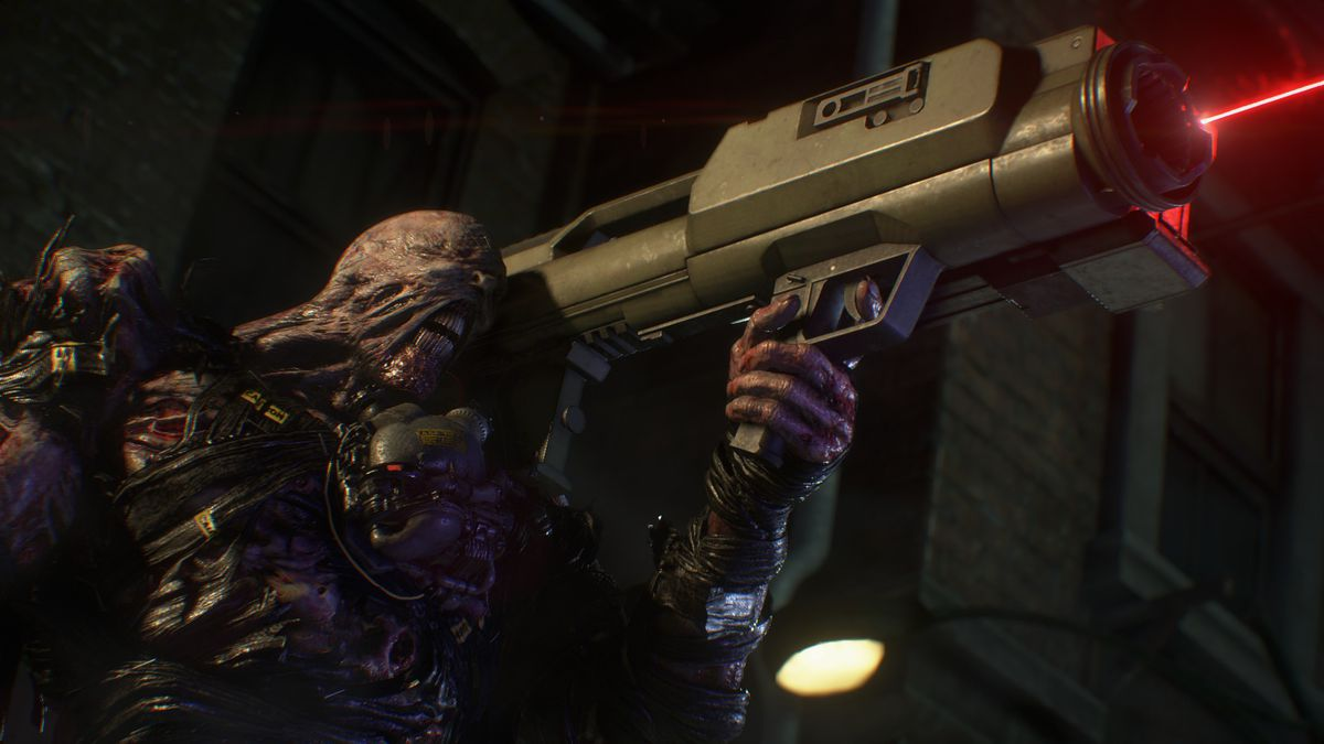 The Nemesis holds a rocket launcher in a screenshot from Resident Evil 3 remake