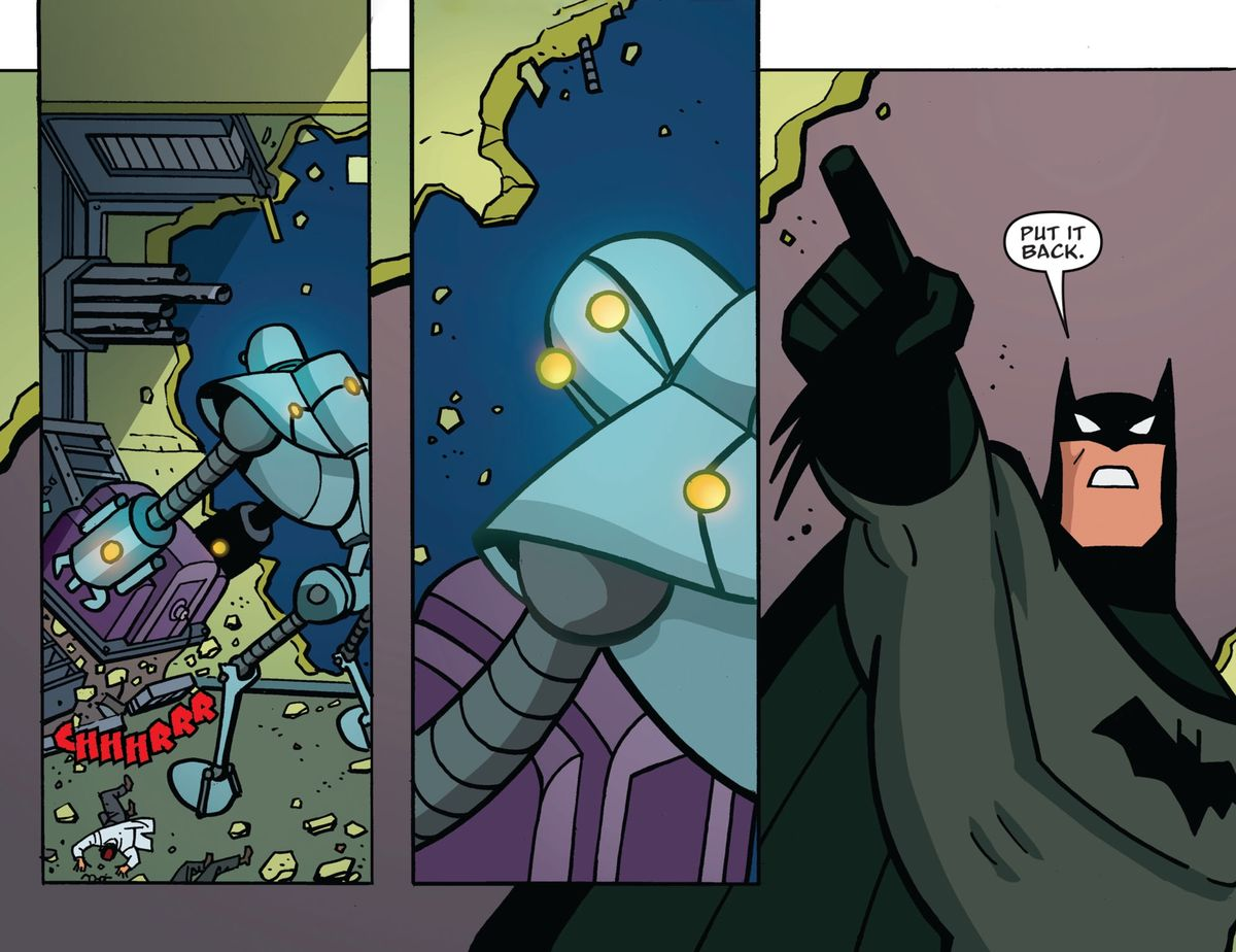 """A giant robot wrenches a large piece of technology out of the floor of a lab, and then looks over its shoulder guiltily. Batman points up at the robot and says """"Put it back."""" In Batman: The Adventures Continue #1, DC Comics (2020)."""