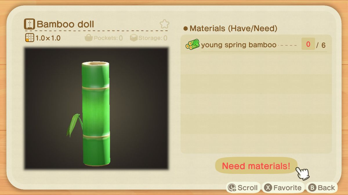 An Animal Crossing crafting screen for a Bamboo Doll