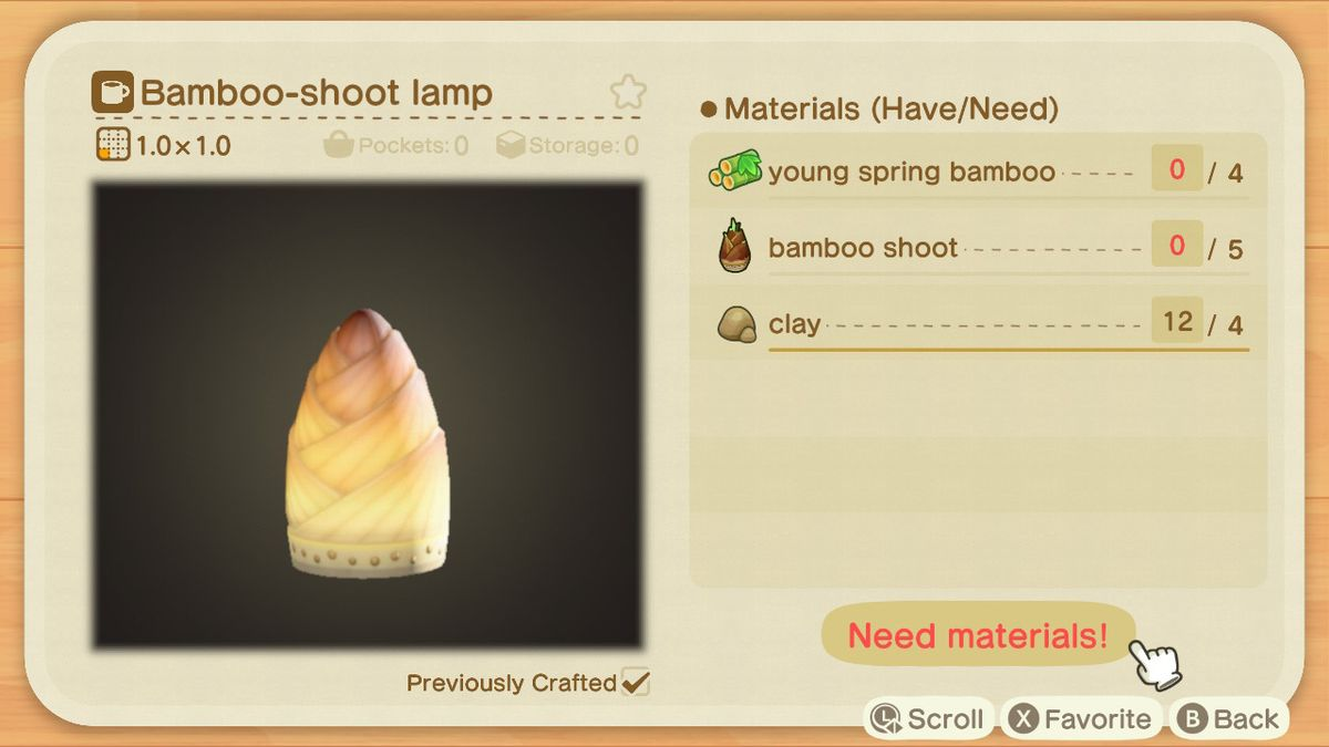 An Animal Crossing crafting screen for a Bamboo-shoot Lamp