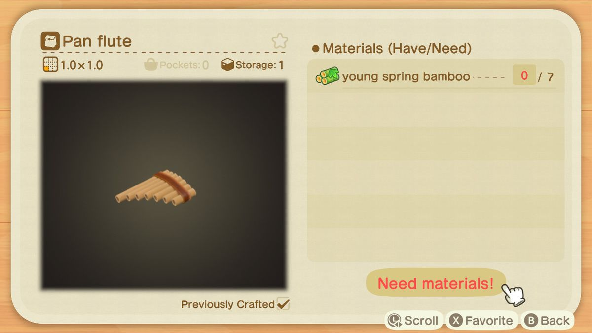 An Animal Crossing crafting screen for a Pan Flute
