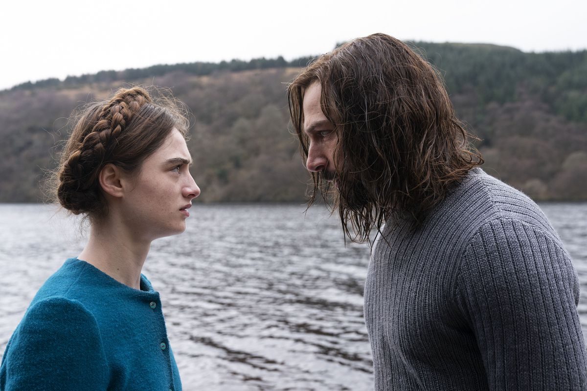 a girl and man confront each other