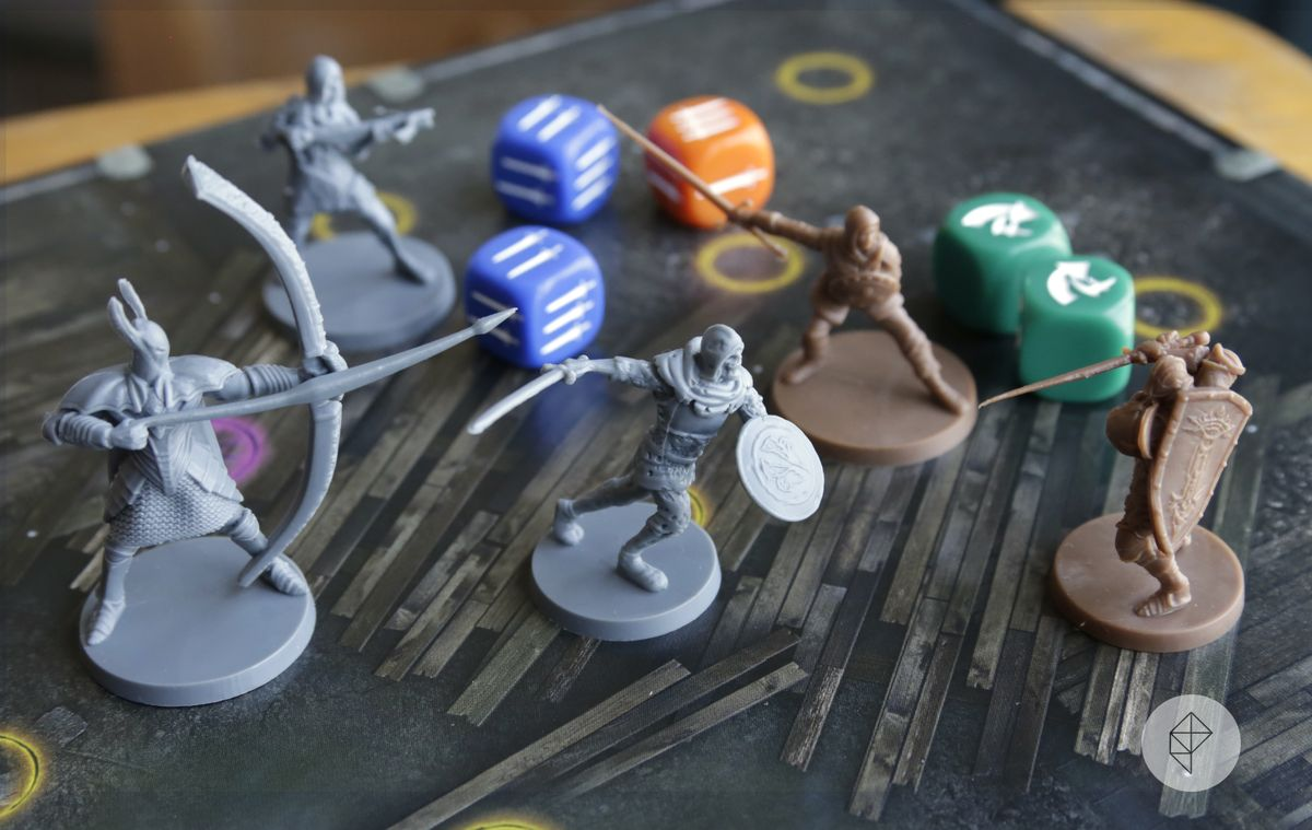 The Knight and the Assassin square off against a Hollowed Soldier and a Silver Knight.