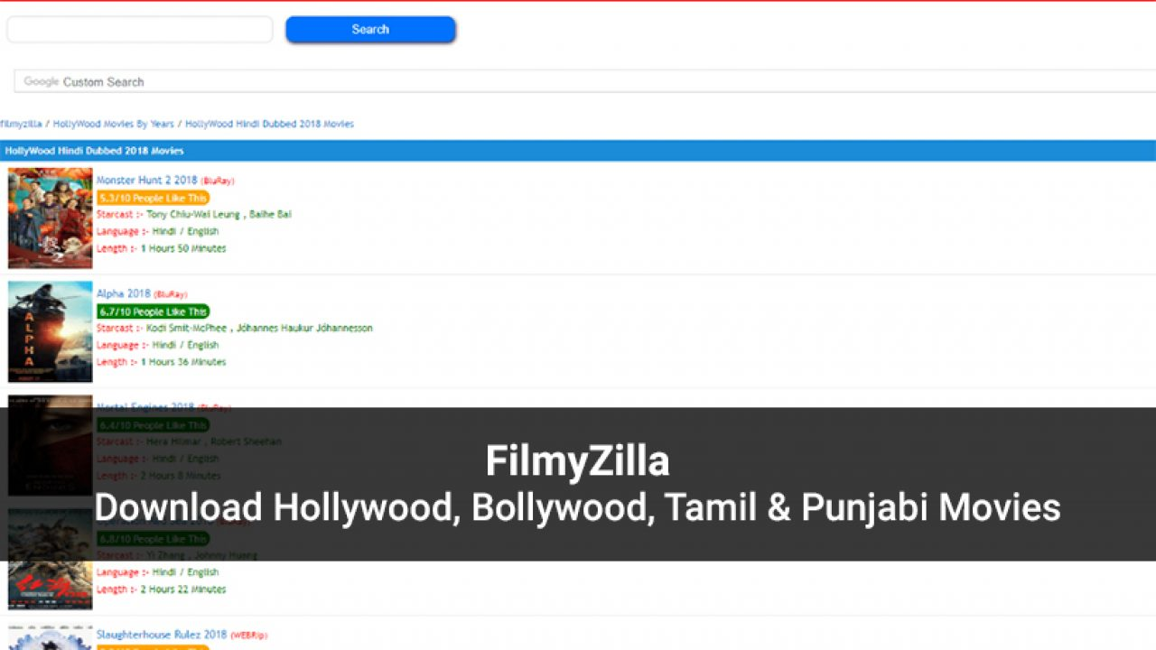 Filmyzilla Bollywood Hollywood Tamil Punjabi Movies Download 2020