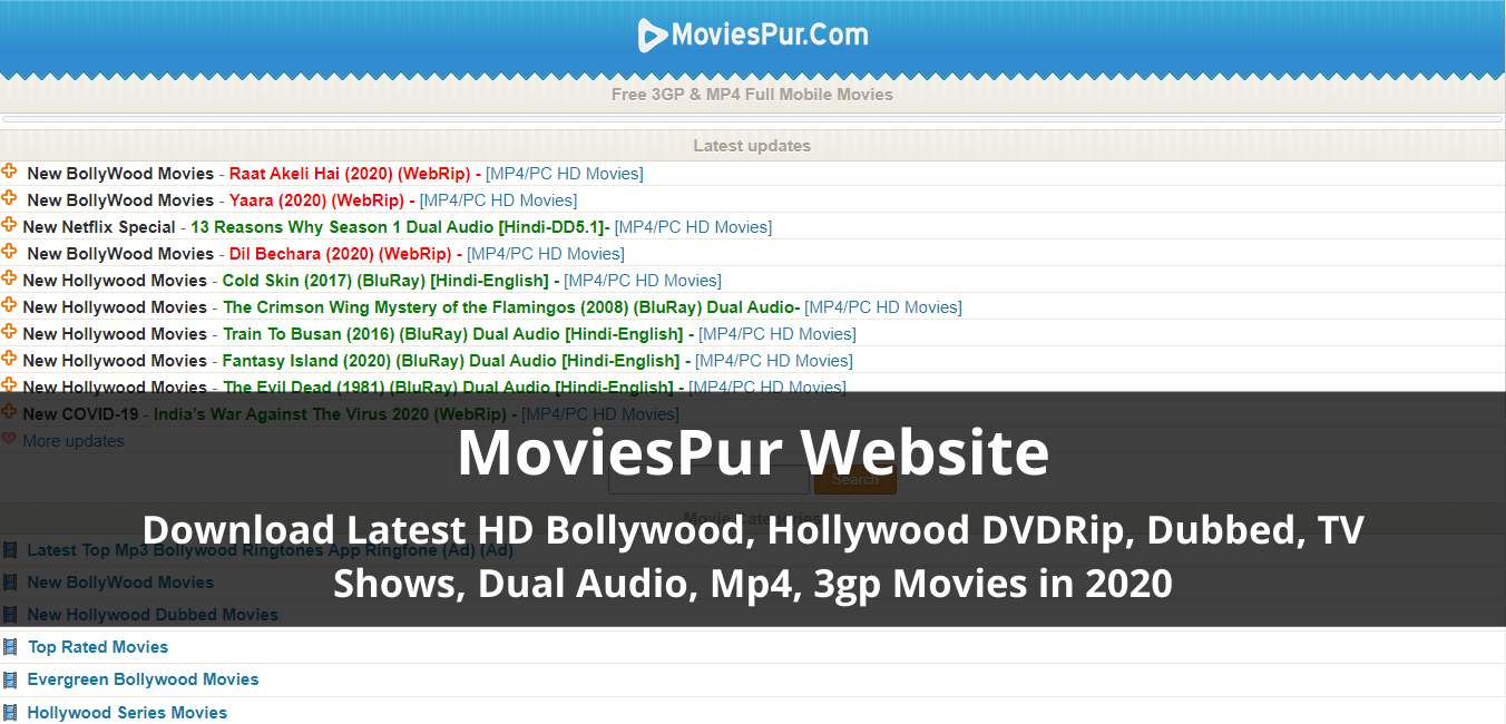 Moviespur 2020 All Latest Hollywood Bollywood Dubbed Movies Online
