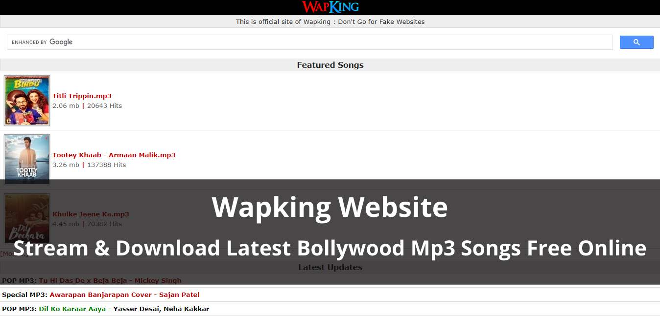 WapKing: Download Latest Bollywood Mp3 Songs or Movies Online For Free
